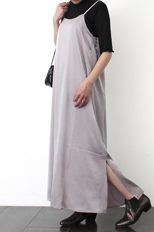 BackGatheredLongSatinDressバックギャザー・サテンキャミワンピース大人カジュアルに最適な海外ファッションのothers(その他インポートアイテム)のワンピースやマキシワンピース。なめらかな光沢が美しいサテン生地のマキシワンピース。膝丈の裏地付きでまとわりつきを軽減。/main-18