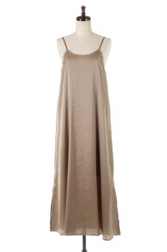海外ファッションや大人カジュアルに最適なインポートセレクトアイテムのBack Gathered Long Satin Dress バックギャザー・サテンキャミワンピース