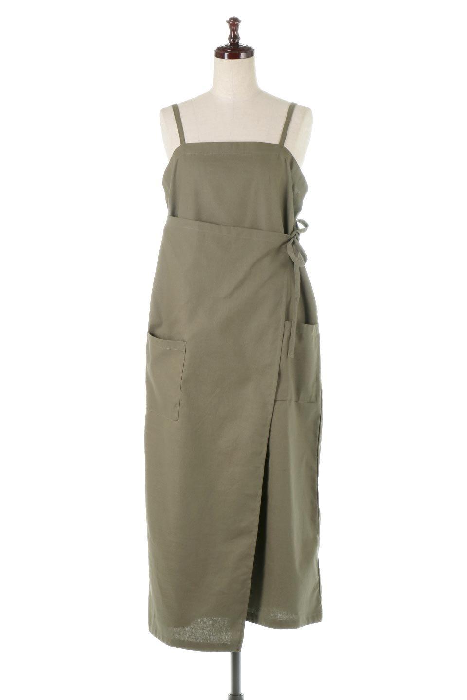 CottonWrapLongDressコットンツイル・ラップワンピース大人カジュアルに最適な海外ファッションのothers(その他インポートアイテム)のワンピースやマキシワンピース。ナチュラルなコットン素材の風合いを生かしたポケット付きのワンピース。ラップ部分がエプロン風で、おしゃれなカフェのスタッフさんのような雰囲気もあります。