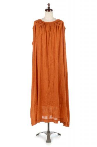 海外ファッションや大人カジュアルに最適なインポートセレクトアイテムのGathered Neck A-Line Long Dress コットンクレープ・サマーワンピース