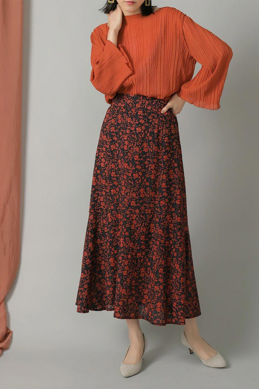 FloralPrintedMermaidSkirt花柄切り替え・マーメイドスカート大人カジュアルに最適な海外ファッションのothers(その他インポートアイテム)のボトムやスカート。エレガントで女性らしいマーメイドラインの花柄スカート。全体的にIラインながら途中から切り替えが入っており、裾部分はフレアに。/main-17