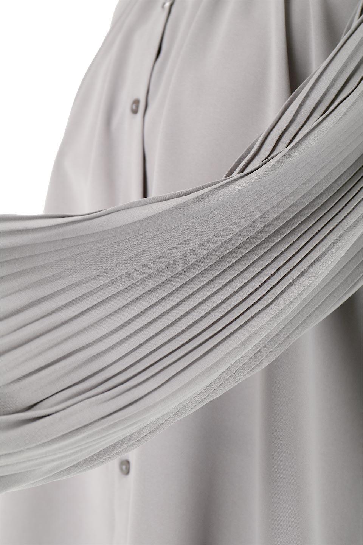 PleatedSleeveCollar-lessBlouseプリーツスリーブ・カラーレスブラウス大人カジュアルに最適な海外ファッションのothers(その他インポートアイテム)のトップスやシャツ・ブラウス。とろみのあるジョーゼット生地を用いたカラーレスブラウス。袖口がふんわりバルーン風のシルエットになっています。/main-16