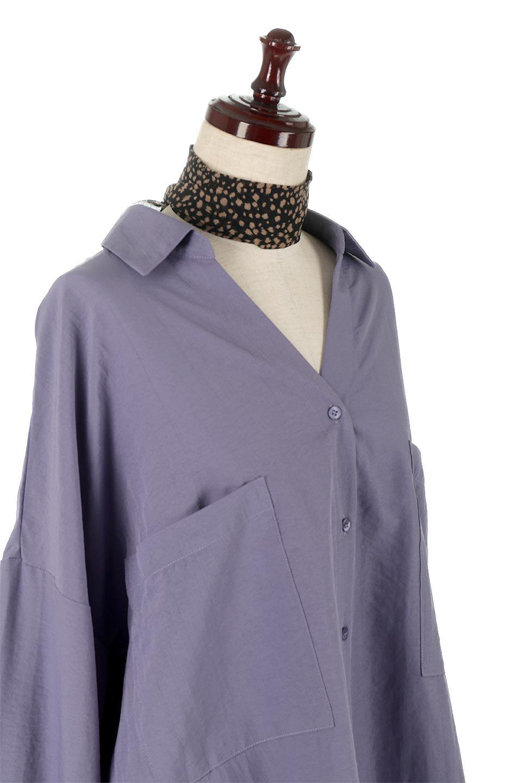 SkipperCollarBigPocketBlouseスカーフ付き・スキッパーブラウス大人カジュアルに最適な海外ファッションのothers(その他インポートアイテム)のトップスやシャツ・ブラウス。シルクのようなさらっとした手触りの生地を用いたシャツブラウス。オーバーサイズでお尻まですっぽりと隠れる丈感となっていますが、首元のV開きにより顔まわりはスッキリ見え、抜け感が出て◎スタイリングのポイントとして取り入れやすい、レオパード柄スカーフ付き。/main-20