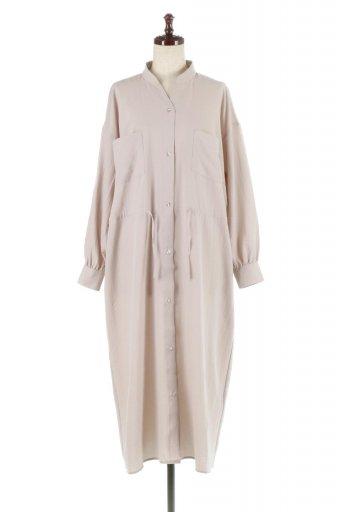 海外ファッションや大人カジュアルに最適なインポートセレクトアイテムのDrewstring Waist Shape Pocket Dress ウエストドロスト・2ポケワンピース