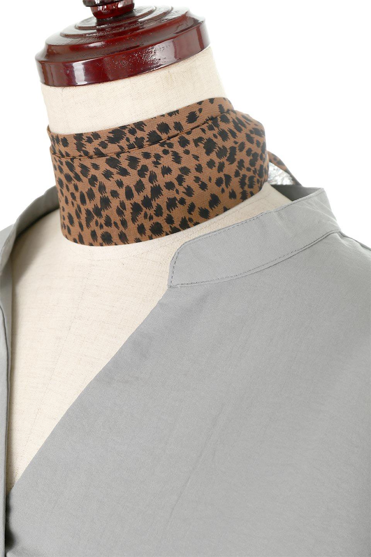 SkipperBandCollarBlouseDressストール付きバンドカラーワンピース大人カジュアルに最適な海外ファッションのothers(その他インポートアイテム)のワンピースやマキシワンピース。シルクのようなさらっとした手触りの生地を用いたワンピース。ワイドシルエットですが、V開きで顔まわりがすっきりと華奢に見えます。/main-10