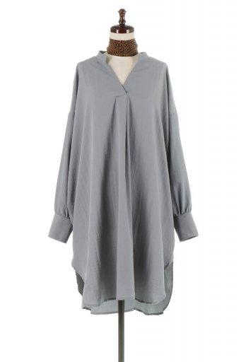海外ファッションや大人カジュアルに最適なインポートセレクトアイテムのSkipper Band Collar Blouse Dress ストール付きバンドカラーワンピース