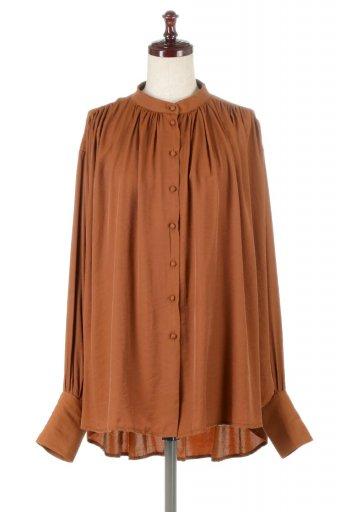 海外ファッションや大人カジュアルに最適なインポートセレクトアイテムのCollarless Gathered Long Blouse ノーカラー・ギャザーブラウス