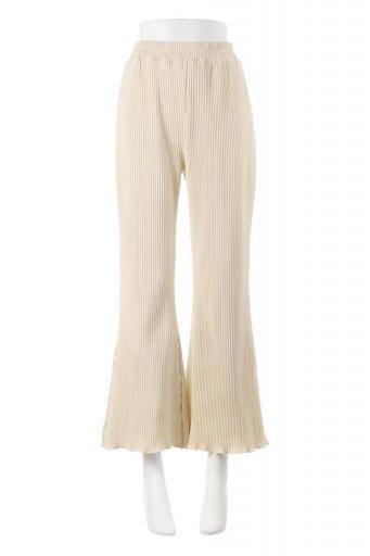 海外ファッションや大人カジュアルに最適なインポートセレクトアイテムのPleated Semi Flare Pants プリーツ・セミフレアパンツ