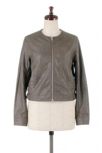 海外ファッションや大人カジュアルに最適なインポートセレクトアイテムのEco Leather Collarless Biker Jacket 2020 エコレザー・ノーカラーライダースジャケット