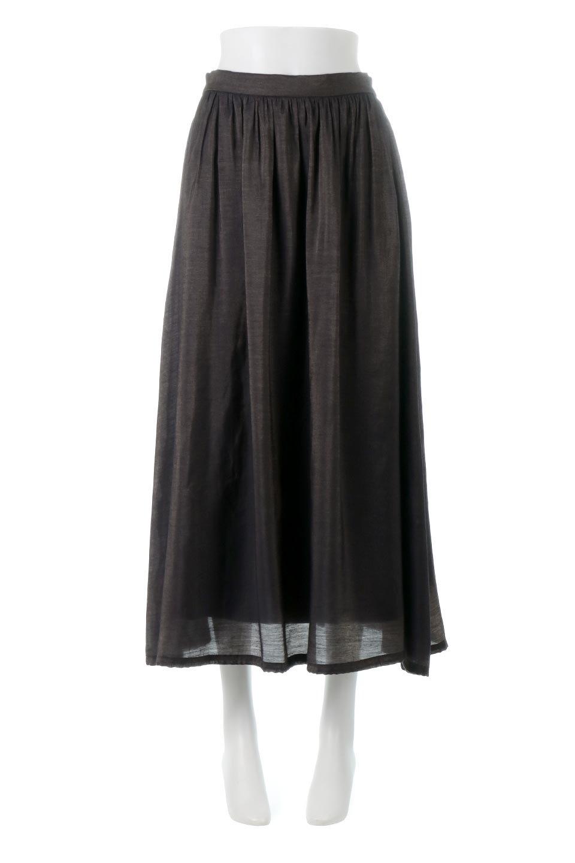 GatheredFlareShinnySkirtシャイニーポプリン・ギャザーフレアースカート大人カジュアルに最適な海外ファッションのothers(その他インポートアイテム)のボトムやスカート。上品な光沢がエレガントなロングフレアスカート。秋冬に合わせやすいロング丈で、それに合わせて裏地も長め。/main-10