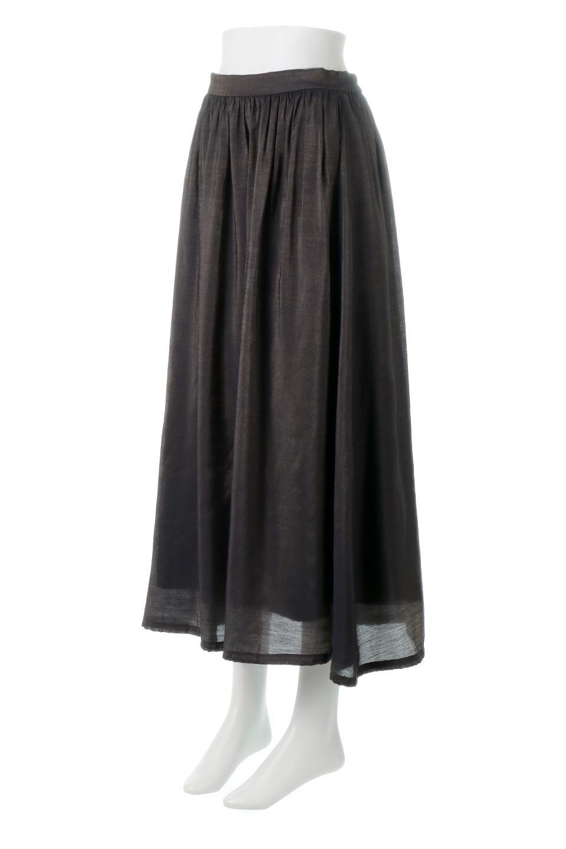 GatheredFlareShinnySkirtシャイニーポプリン・ギャザーフレアースカート大人カジュアルに最適な海外ファッションのothers(その他インポートアイテム)のボトムやスカート。上品な光沢がエレガントなロングフレアスカート。秋冬に合わせやすいロング丈で、それに合わせて裏地も長め。/main-11