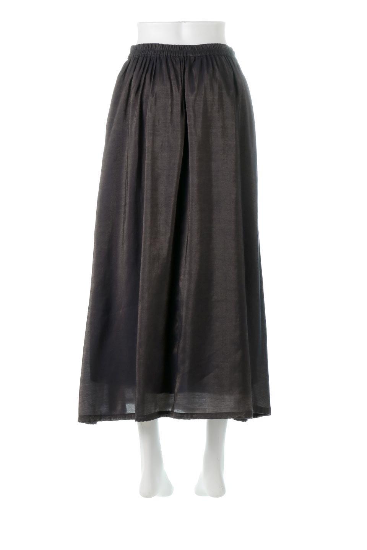 GatheredFlareShinnySkirtシャイニーポプリン・ギャザーフレアースカート大人カジュアルに最適な海外ファッションのothers(その他インポートアイテム)のボトムやスカート。上品な光沢がエレガントなロングフレアスカート。秋冬に合わせやすいロング丈で、それに合わせて裏地も長め。/main-14