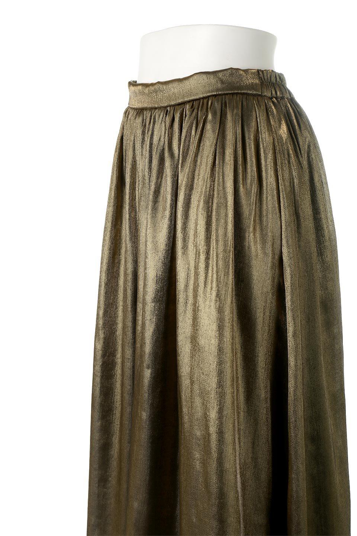 GatheredFlareShinnySkirtシャイニーポプリン・ギャザーフレアースカート大人カジュアルに最適な海外ファッションのothers(その他インポートアイテム)のボトムやスカート。上品な光沢がエレガントなロングフレアスカート。秋冬に合わせやすいロング丈で、それに合わせて裏地も長め。/main-16