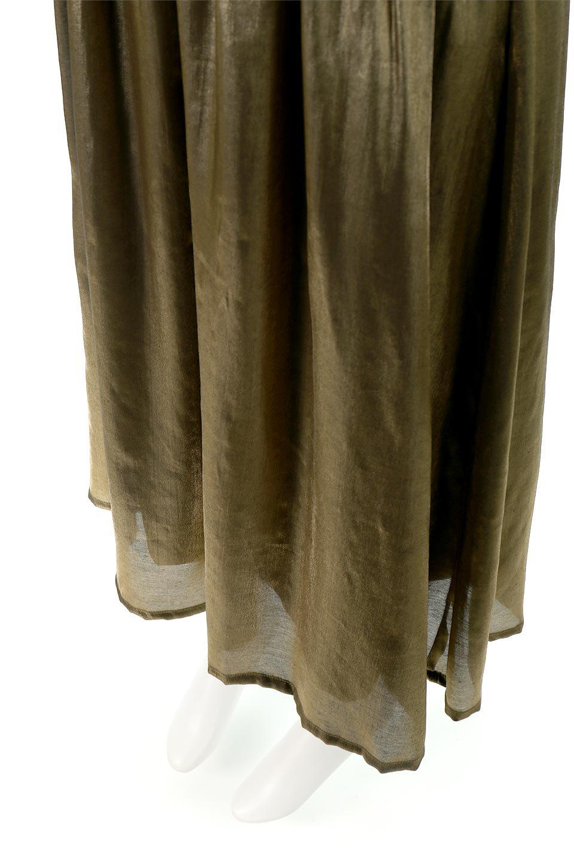 GatheredFlareShinnySkirtシャイニーポプリン・ギャザーフレアースカート大人カジュアルに最適な海外ファッションのothers(その他インポートアイテム)のボトムやスカート。上品な光沢がエレガントなロングフレアスカート。秋冬に合わせやすいロング丈で、それに合わせて裏地も長め。/main-18