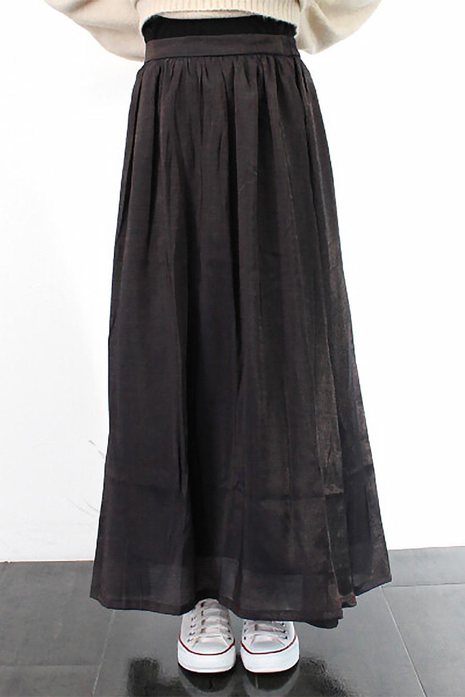 GatheredFlareShinnySkirtシャイニーポプリン・ギャザーフレアースカート大人カジュアルに最適な海外ファッションのothers(その他インポートアイテム)のボトムやスカート。上品な光沢がエレガントなロングフレアスカート。秋冬に合わせやすいロング丈で、それに合わせて裏地も長め。/main-25