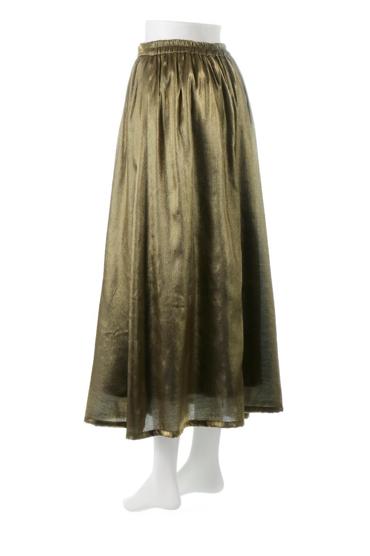 GatheredFlareShinnySkirtシャイニーポプリン・ギャザーフレアースカート大人カジュアルに最適な海外ファッションのothers(その他インポートアイテム)のボトムやスカート。上品な光沢がエレガントなロングフレアスカート。秋冬に合わせやすいロング丈で、それに合わせて裏地も長め。/main-3
