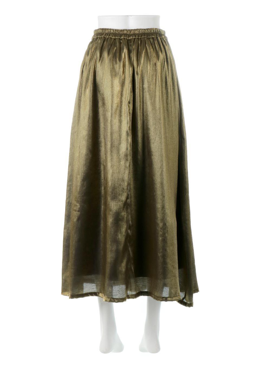 GatheredFlareShinnySkirtシャイニーポプリン・ギャザーフレアースカート大人カジュアルに最適な海外ファッションのothers(その他インポートアイテム)のボトムやスカート。上品な光沢がエレガントなロングフレアスカート。秋冬に合わせやすいロング丈で、それに合わせて裏地も長め。/main-4