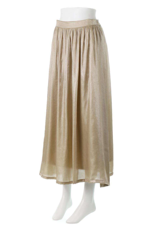 GatheredFlareShinnySkirtシャイニーポプリン・ギャザーフレアースカート大人カジュアルに最適な海外ファッションのothers(その他インポートアイテム)のボトムやスカート。上品な光沢がエレガントなロングフレアスカート。秋冬に合わせやすいロング丈で、それに合わせて裏地も長め。/main-6
