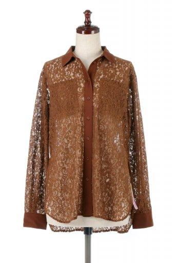 海外ファッションや大人カジュアルに最適なインポートセレクトアイテムのSheered Lace Shirts Blouse 花柄レース・シアーシャツ・ブラウス