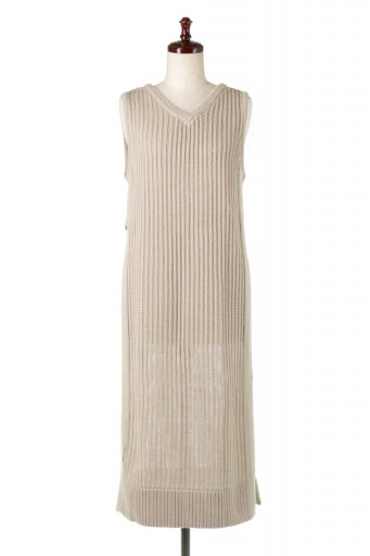海外ファッションや大人カジュアルに最適なインポートセレクトアイテムのSleeveless Slit Knit Dress 透かし編み・サイドスリットワンピース