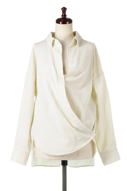 2WayCorduroyOverShirts2ウェイ・コーデュロイシャツ大人カジュアルに最適な海外ファッションのothers(その他インポートアイテム)のトップスやシャツ・ブラウス。着回しやすさバツグンの細うねコーデュロイのアレンジシャツ。2パターンの着こなしが楽しめる仕様となっています。/main-5