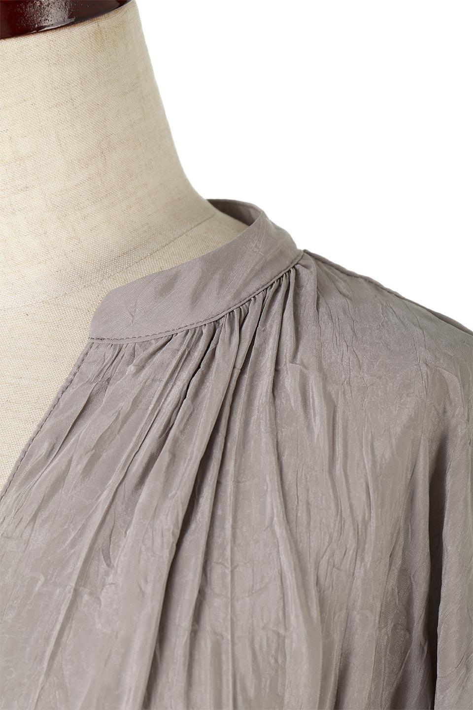 WasherSatinLongDressワッシャーサテン・ロングワンピース大人カジュアルに最適な海外ファッションのothers(その他インポートアイテム)のワンピースやマキシワンピース。今年らしいボリューム袖のワンピース。軽くてシワが気にならないので旅行にもぴったり。/main-23