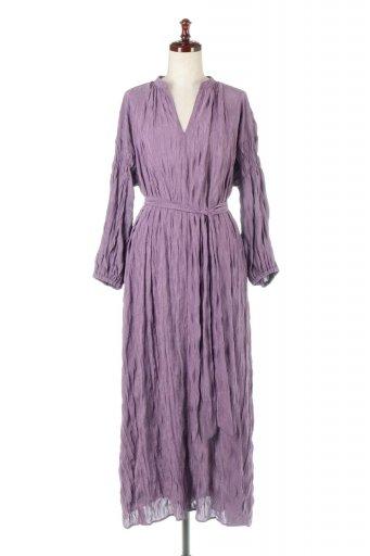海外ファッションや大人カジュアルに最適なインポートセレクトアイテムのWasher Satin Long Dress ワッシャーサテン・ロングワンピース
