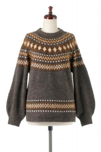 海外ファッションや大人カジュアルに最適なインポートセレクトアイテムのSoft Shaggy Knit Nordic Top ソフトシャギー・もちもちノルディックセーター