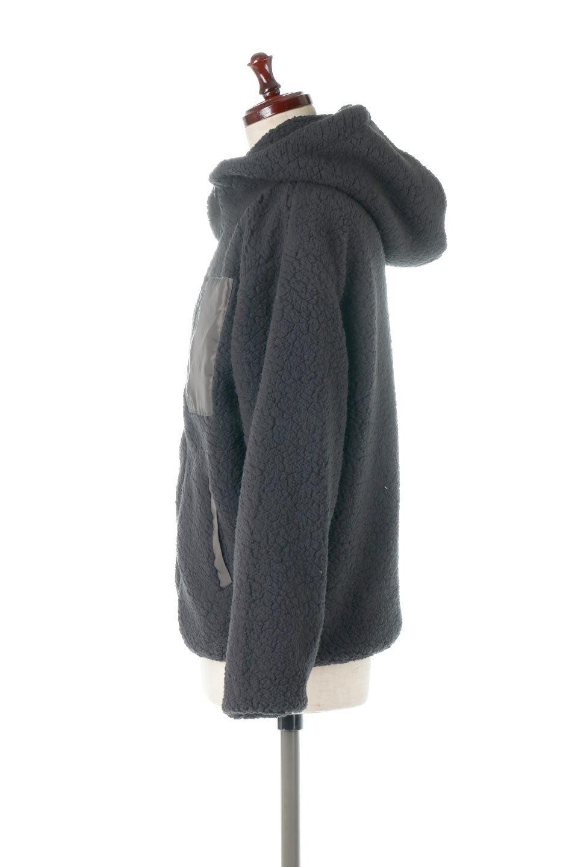 ShearlingFleeceHoodedJacketボアフリース・フード付きジャケット大人カジュアルに最適な海外ファッションのothers(その他インポートアイテム)のアウターやジャケット。もこもこボアのあったかフリースジャケット。程よいミドル丈がボトムスを選ばずコーデを楽しむことができるニュアンスカラーの万能アウターはインナーを変えて秋口から真冬にかけて大活躍。/main-12