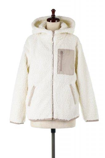 海外ファッションや大人カジュアルに最適なインポートセレクトアイテムのShearling Fleece Hooded Jacket ボアフリース・フード付きジャケット