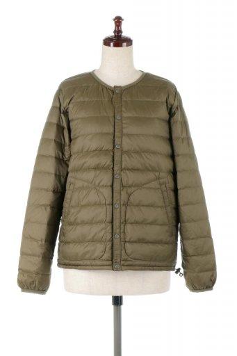海外ファッションや大人カジュアルに最適なインポートセレクトアイテムのCollarless Down Jacket ノーカラー・インナーダウンジャケット