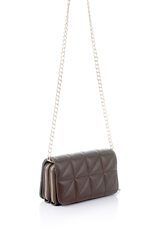 meliebiancoのBrianna(Chocolate)キルティングレザー・ミニショルダーバッグ/海外ファッション好きにオススメのインポートバッグとかばん、MelieBianco(メリービアンコ)のバッグやショルダーバッグ。メインの収納部分が2つある整理上手なミニショルダーバッグ。両サイドにもポケットがあり、ちょっとしたオーガナイザーとしても活躍するバッグです。/main-3