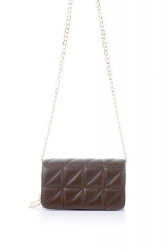 海外ファッションや大人カジュアルのためのインポートバッグ、かばんmelie bianco(メリービアンコ)のBrianna (Chocolate) キルティングレザー・ミニショルダーバッグ
