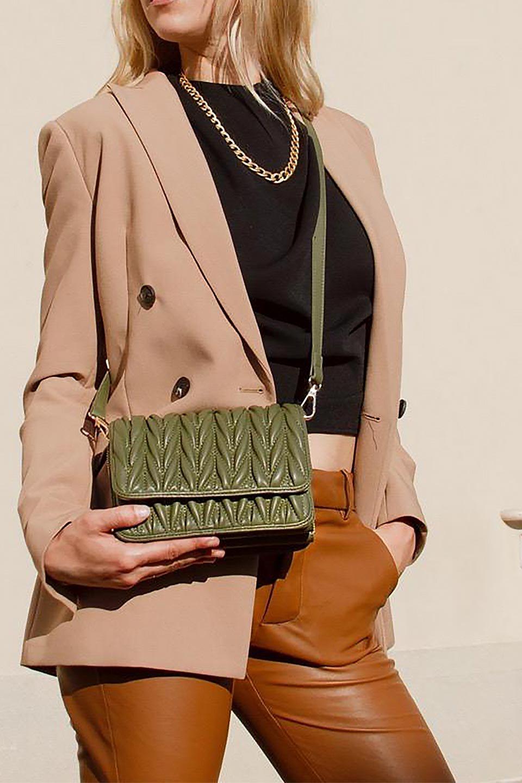 meliebiancoのGiselle(Moss)ブレイドキルティング・ミニショルダーバッグ/海外ファッション好きにオススメのインポートバッグとかばん、MelieBianco(メリービアンコ)のバッグやショルダーバッグ。編み込み状のキルティングレザーが美しいショルダーバッグ。ソフトで滑らかなビーガンレザーのキルティングはしっとりと最高の手触り。/main-20
