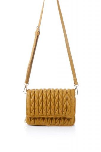 海外ファッションや大人カジュアルのためのインポートバッグ、かばんmelie bianco(メリービアンコ)のGiselle (Tan) ブレイドキルティング・ミニショルダーバッグ