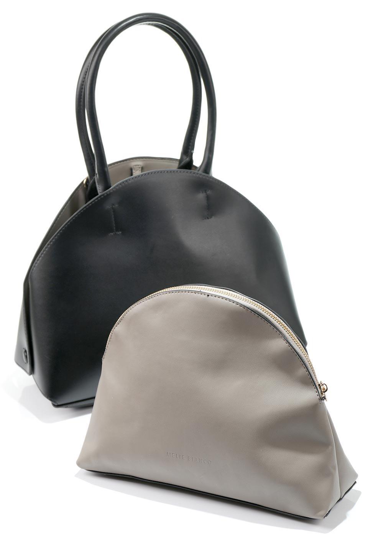meliebiancoのAusten(Black)ポーチ付き・ラウンドハンドバッグ/海外ファッション好きにオススメのインポートバッグとかばん、MelieBianco(メリービアンコ)のバッグやショルダーバッグ。ミニマルデザインのポーチ付きハンドバッグ。シンプルでコーデの邪魔をしない上品な雰囲気を醸し出すアイテムです。/main-14