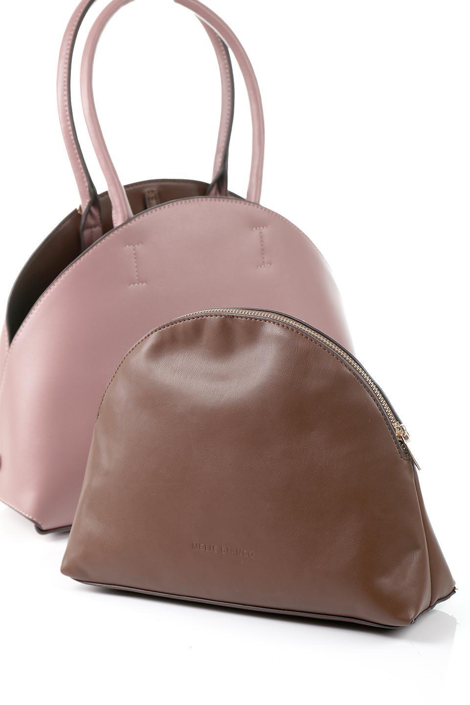 meliebiancoのAusten(Rose)ポーチ付き・ラウンドハンドバッグ/海外ファッション好きにオススメのインポートバッグとかばん、MelieBianco(メリービアンコ)のバッグやショルダーバッグ。ミニマルデザインのポーチ付きハンドバッグ。シンプルでコーデの邪魔をしない上品な雰囲気を醸し出すアイテムです。/main-15