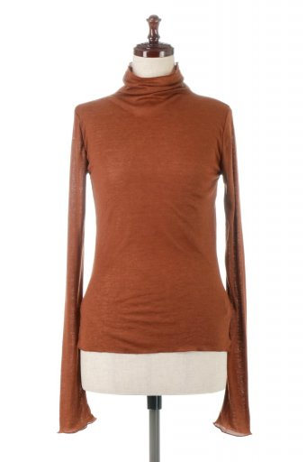 海外ファッションや大人カジュアルに最適なインポートセレクトアイテムのHalf Turtle Neck Sheer Top セミタートルネック・シアートップス
