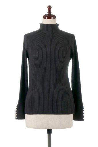 海外ファッションや大人カジュアルに最適なインポートセレクトアイテムのHigh Neck HEATxHEAT Knit Top 袖ボタン・ハイネックプルオーバー