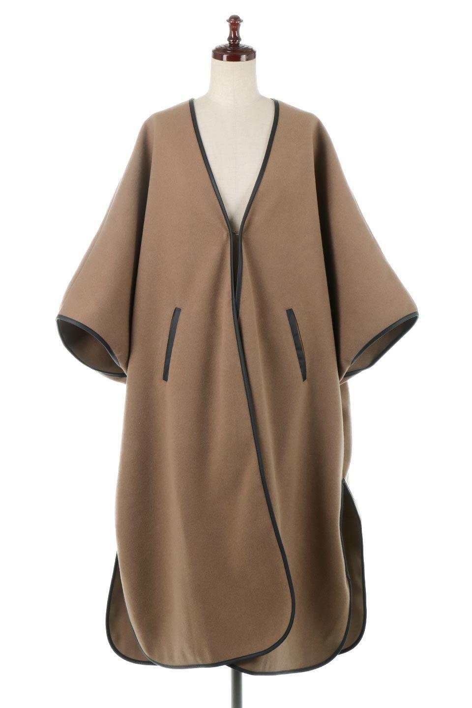 Bi-ColoredPipingOverSizedCoat配色パイピング・ロングコート大人カジュアルに最適な海外ファッションのothers(その他インポートアイテム)のアウターやコート。配色に施されたエコレザーパイピングがポイントになったオーバーサイズのコート。これ一枚で旬顔コーデが完成します。