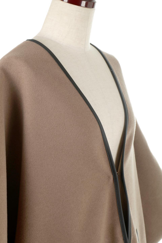 Bi-ColoredPipingOverSizedCoat配色パイピング・ロングコート大人カジュアルに最適な海外ファッションのothers(その他インポートアイテム)のアウターやコート。配色に施されたエコレザーパイピングがポイントになったオーバーサイズのコート。これ一枚で旬顔コーデが完成します。/main-10