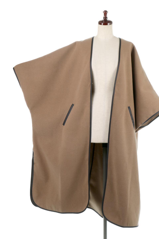 Bi-ColoredPipingOverSizedCoat配色パイピング・ロングコート大人カジュアルに最適な海外ファッションのothers(その他インポートアイテム)のアウターやコート。配色に施されたエコレザーパイピングがポイントになったオーバーサイズのコート。これ一枚で旬顔コーデが完成します。/main-19