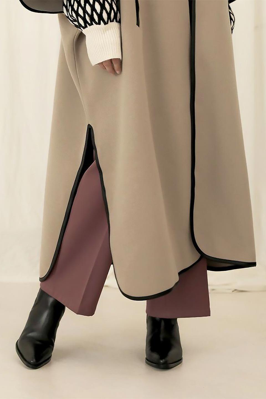 Bi-ColoredPipingOverSizedCoat配色パイピング・ロングコート大人カジュアルに最適な海外ファッションのothers(その他インポートアイテム)のアウターやコート。配色に施されたエコレザーパイピングがポイントになったオーバーサイズのコート。これ一枚で旬顔コーデが完成します。/main-25