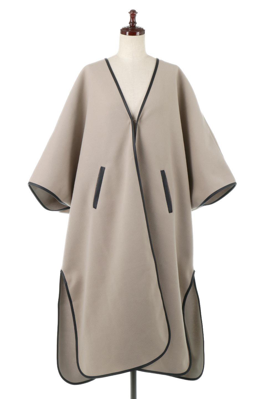 Bi-ColoredPipingOverSizedCoat配色パイピング・ロングコート大人カジュアルに最適な海外ファッションのothers(その他インポートアイテム)のアウターやコート。配色に施されたエコレザーパイピングがポイントになったオーバーサイズのコート。これ一枚で旬顔コーデが完成します。/main-5
