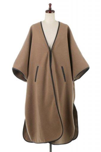 海外ファッションや大人カジュアルに最適なインポートセレクトアイテムのBi-Colored Piping Over Sized Coat 配色パイピング・ロングコート