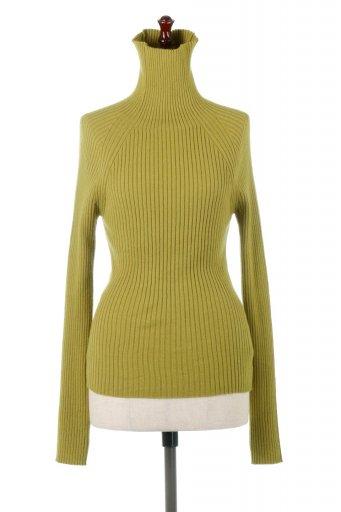 海外ファッションや大人カジュアルに最適なインポートセレクトアイテムのRib Knit Turtle Neck Top リブニット・タートルネック