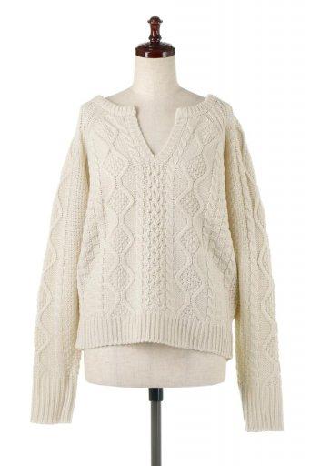 海外ファッションや大人カジュアルに最適なインポートセレクトアイテムのSkipper Collar Fisherman Sweater スキッパーデザイン・ケーブルニットセーター