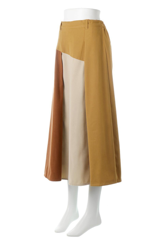 EcoSuedePanelSkirtフェイクスウェード・切り替えスカート大人カジュアルに最適な海外ファッションのothers(その他インポートアイテム)のボトムやスカート。絶妙なカラーリングが目を引くフェイクスウェードの配色ロングスカート。秋冬に欲しくなる色を全て使ったような合わせやすいアイテム。/main-1