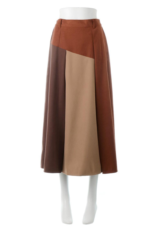 EcoSuedePanelSkirtフェイクスウェード・切り替えスカート大人カジュアルに最適な海外ファッションのothers(その他インポートアイテム)のボトムやスカート。絶妙なカラーリングが目を引くフェイクスウェードの配色ロングスカート。秋冬に欲しくなる色を全て使ったような合わせやすいアイテム。/main-10