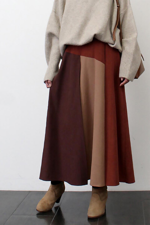 EcoSuedePanelSkirtフェイクスウェード・切り替えスカート大人カジュアルに最適な海外ファッションのothers(その他インポートアイテム)のボトムやスカート。絶妙なカラーリングが目を引くフェイクスウェードの配色ロングスカート。秋冬に欲しくなる色を全て使ったような合わせやすいアイテム。/main-25